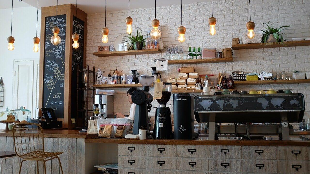 Barista service in a local coffee shop